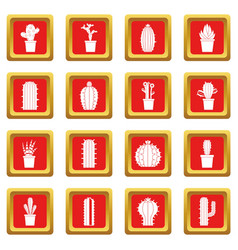 Different cactuses icons set red vector