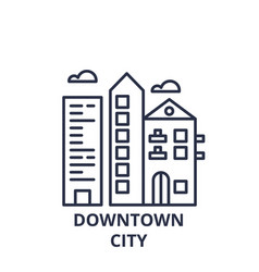 downtown city line icon concept downtown city vector image