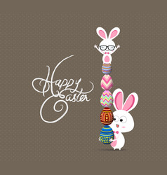 easter bunny with eggs vector image