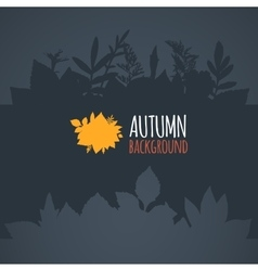 Flat autumn background dark gray leaves vector image