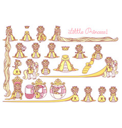 flat little princess set vector image