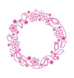 Flower lineart wreath vector