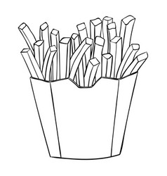 french fries in a paper cup black and white vector image