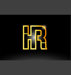 Gold black alphabet letter hr h r logo vector