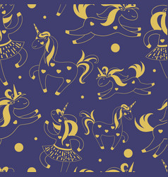 golden seamless pattern of cute cartoon unicorns vector image