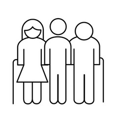 Grandparents couple with son avatars line style vector