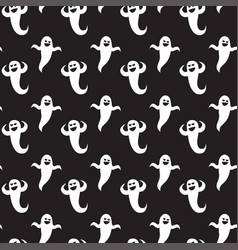 halloween seamless pattern ghosts on black vector image