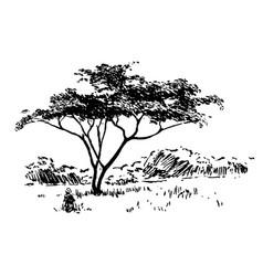 Hand drawn african safari nature landscape black vector