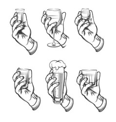 Hand holding drink vintage sketch icons vector
