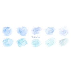Hand painted blue pastel watercolor set vector
