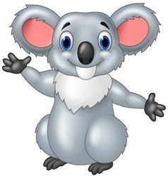 Happy koala waving hand with smiley face vector