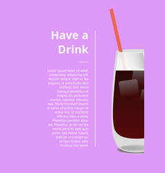 Have drink summer party promo poster with cocktail vector