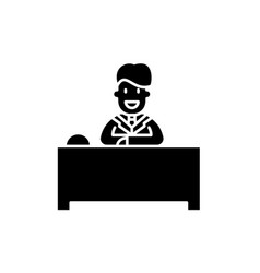 Hotel reception black icon sign on vector