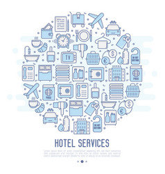 hotel services concept in circle vector image