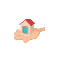 House in the hand cartoon vector image