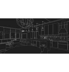 Interior line drawing vector