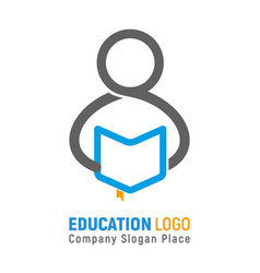 Isolated logo of student with open book in vector