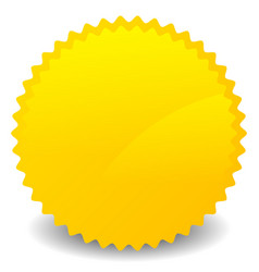 Isolated yellow orange starburst shape with blank vector