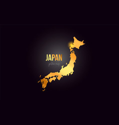 Japan country border map in gold golden metal vector