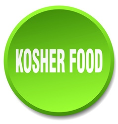 Kosher food green round flat isolated push button vector