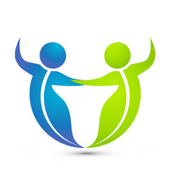Leaf figure people dancing together logo vector