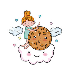 Little girl with sweet cookie kawaii character vector
