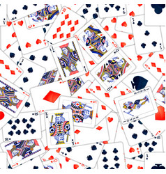 lot of realistic playing cards seamless pattern vector image
