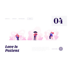 loving couples spare time website landing page vector image