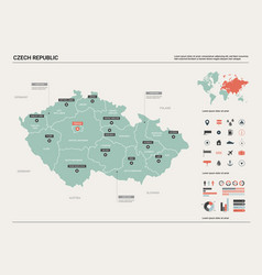Map czech republic country map with division vector