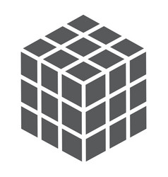 math cube glyph icon block and geometric vector image