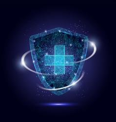 medical protection shield polygonal art vector image