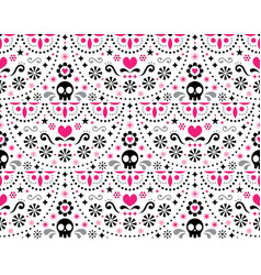 Mexican folk art seamless skull pattern vector