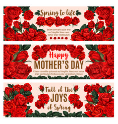 mother day greeting banner with spring rose flower vector image
