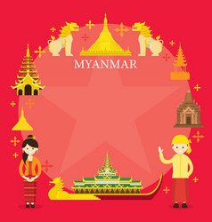 Myanmar landmarks people in traditional clothing vector
