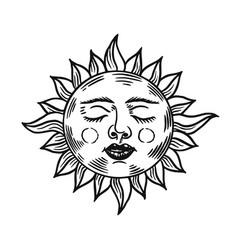 mystical sleeping sun astronomy alchemy vector image
