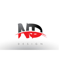 Nd n d brush logo letters with red and black vector