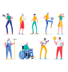 people characters young and old man woman flat vector image