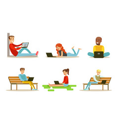 people using laptop computers set men and women vector image