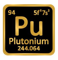 Periodic table element plutonium icon vector
