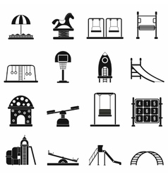 Playground black simple icons set vector