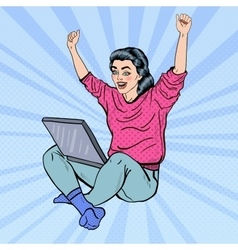 Pop art excited woman with laptop and hands up vector