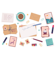 postcards and letters with pencils writers set vector image