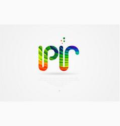 Pr p r rainbow colored alphabet letter logo vector