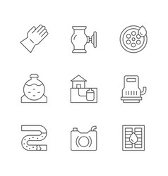 set line icons sewerage vector image
