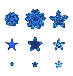 set of stars snowflakes star icon in flat design vector image