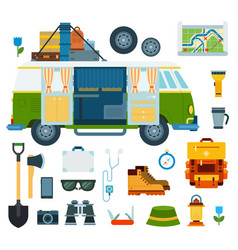 set trip and vacation flat vector image