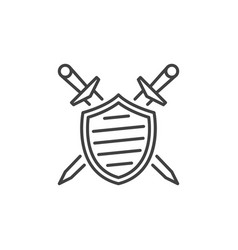 shield with crossed swords linear icon vector image