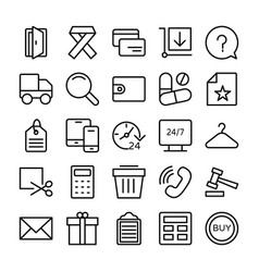 shopping and e commerce icons 7 vector image