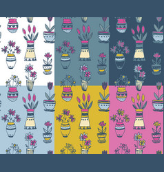 six seamless patterns with hand drawn floral vector image