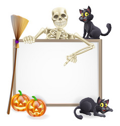 Skeleton halloween sign vector